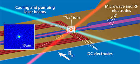 APS/Alan Stonebraker Figure 1 Qubits made of a trapped 43Ca+ ion. RF and dc electrodes provide a trapping field for the ions, which are cooled by laser beams (blue) to microkelvin temperatures. A combination of laser pumping and microwave signals can deterministically prepare the qubit in a |0〉 or |1〉 state, and the state can be read out by monitoring its fluorescence (only |1〉 states result in the fluorescence, similar to that shown in the inset). Further logical gate operations can be carried out by applying various combinations of microwave pulses. The scheme yields preparation and readout errors of less than 0.07% and logic-gate errors of less than 10-6.