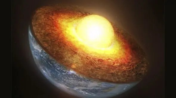 "Though you may be familiar with the phrase ""molten core,"" the reality is that Earth's inner core is actually solid, and it's the outer core that surrounds this enormous ball of heavy metals which remains liquid. Image: geek.com"