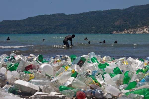 Plastic pollution in Haiti.