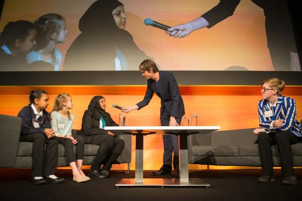 Professor Brian Cox chats with youngsters during a debate at the opening ceremony of the EuroScience Open Forum at Manchester Central, in Manchester, United Kingdom on Sunday 24th July 2016. An image from the media reception of the EuroScience Open Forum at the Museum of Science and Industry, in Manchester, United Kingdom on Tuesday 26th July 2016. Credit: Matt Wilkinson Photography