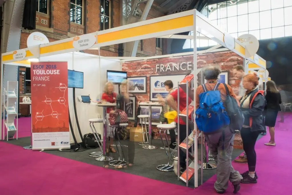 The ESOF 2018 Toulouse stand in the main exhibition hall at the EuroScience Open Forum at Manchester Central, in Manchester, United Kingdom on Wednesday 27th July 2016. Credit: Matt Wilkinson Photography