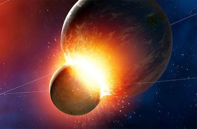 Artist impression of early Earth impact with a planetary-sized body. Credit: NASA