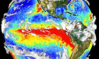 3-D cloud and surface temperature data from the Terra satellite show a well-developed El Niño condition. The red area is warm water sitting off the coast of western South America. Credit: NASA