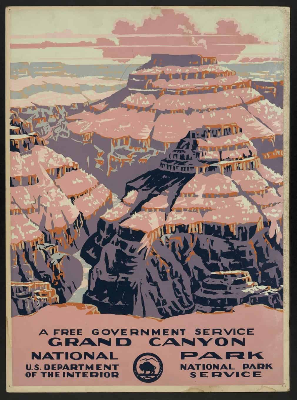 Grand Canyon national park poster, National Park Service, circa 1938