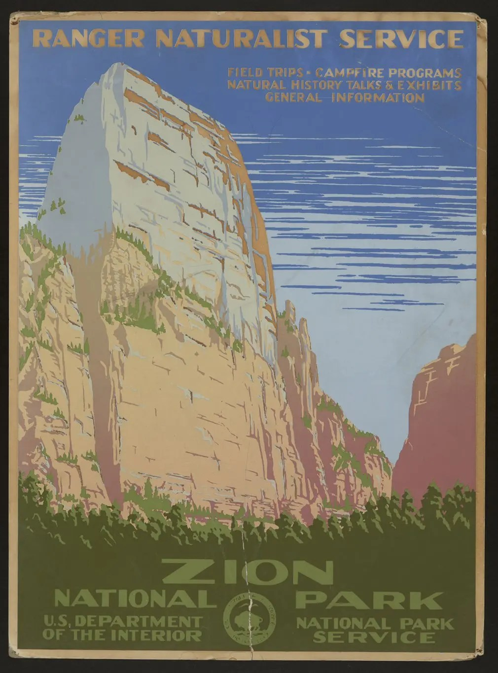 Zion national park features on a poster circa 1938