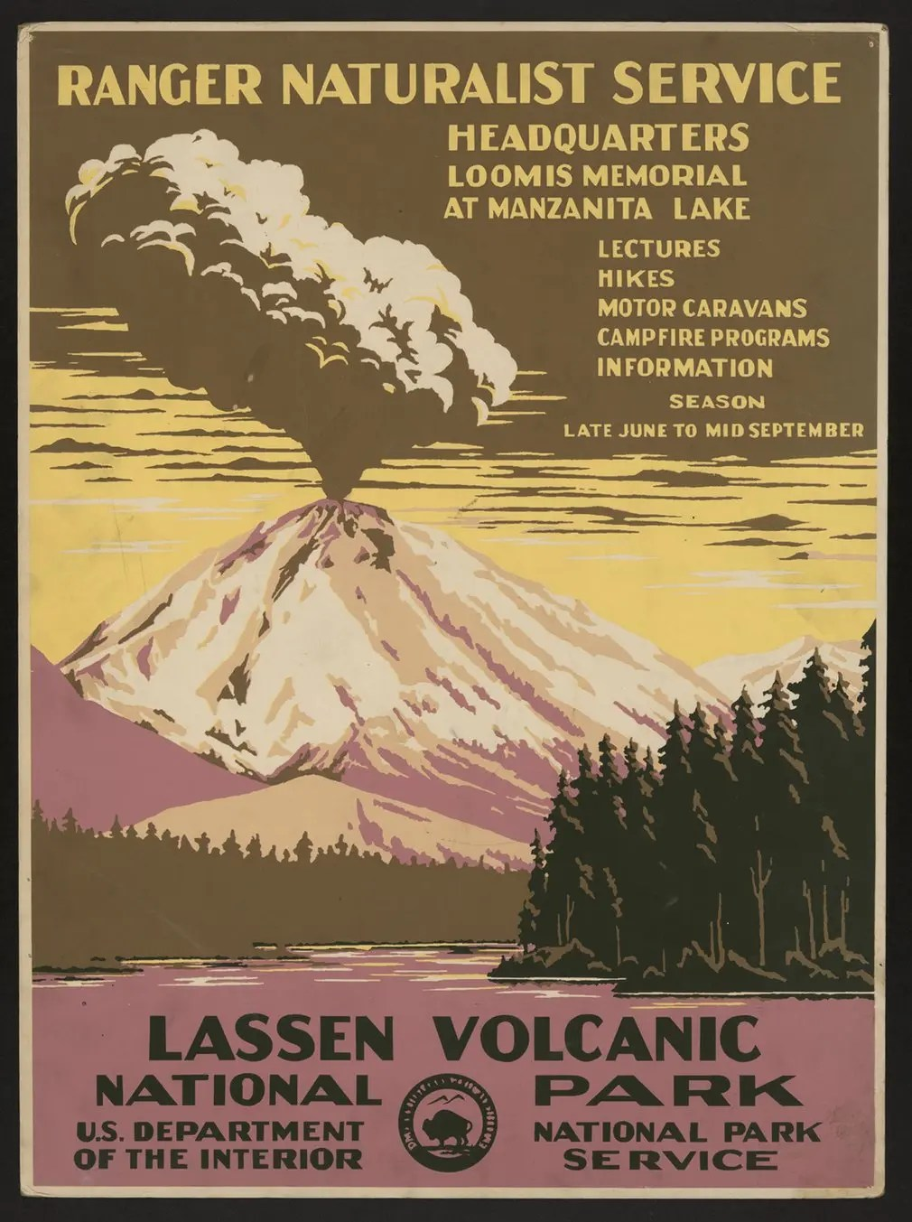 Lassen Volcanic national park and the Lassen erupting, 1938.