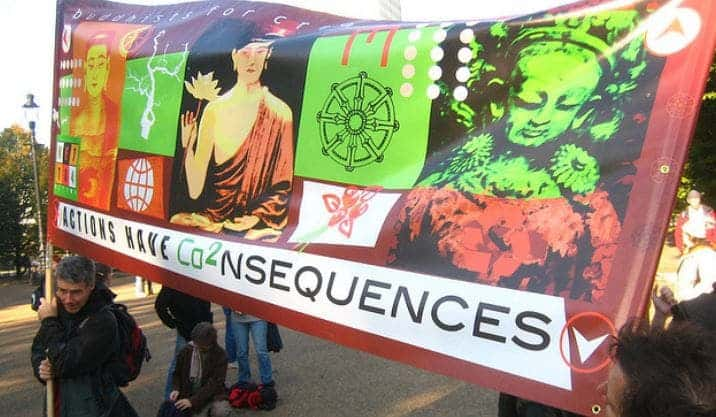 """2006 National Climate March, """"Buddhists for Creative Change"""" banner, photo by Akuppa John Wigham, flickr C.C."""