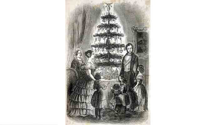 In the 1840s and 1850s Queen Victoria and Prince Albert popularised a new way of celebrating Christmas. This engraving from 1840 shows the two monarchs surrounded by children and gifts around a Christmas tree. Credit: Wikimedia Commons.