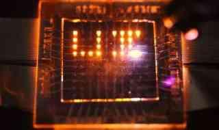 These LEDs can emit, sense, and respond to light. Credit: Moonsub Shim, University of Illinois.
