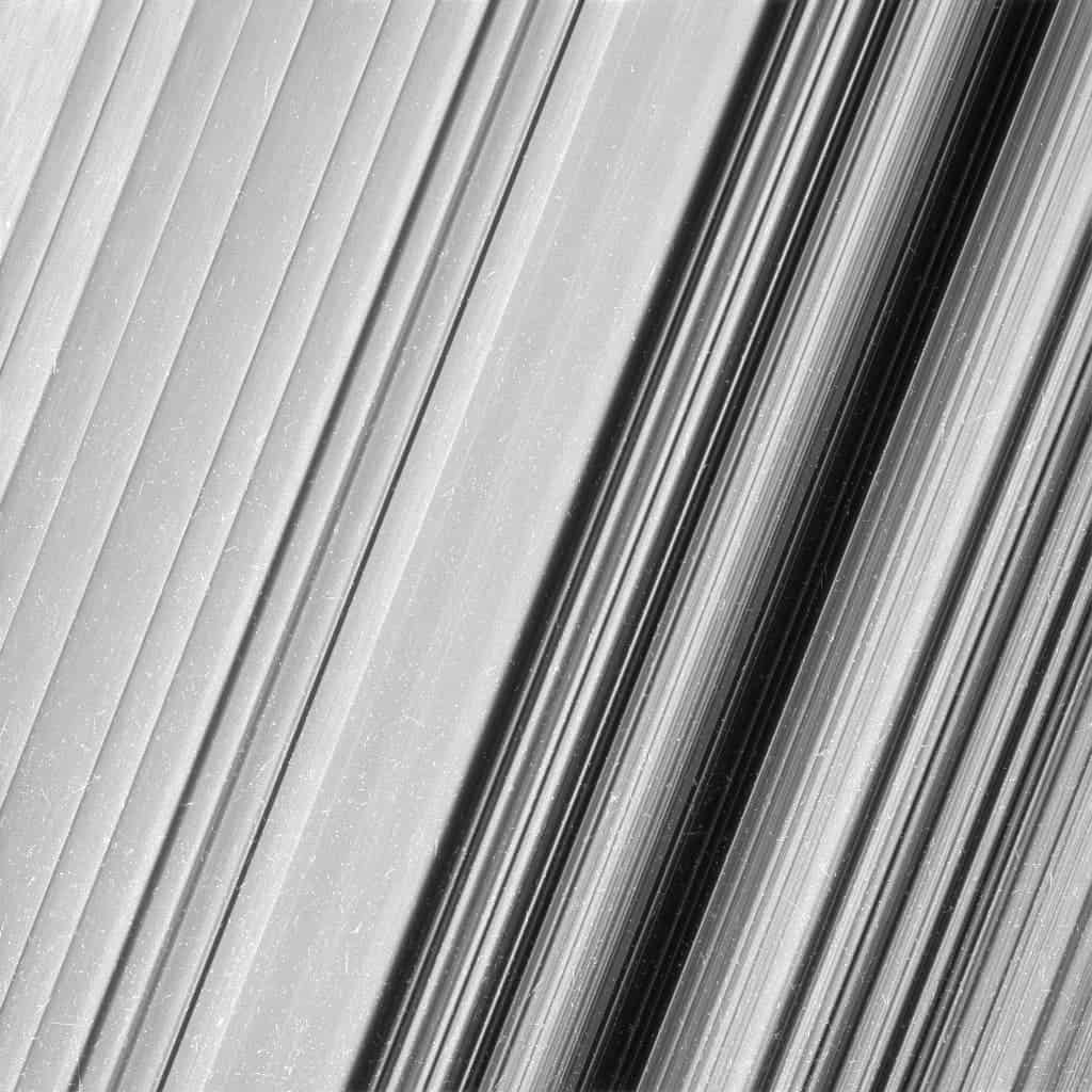 This image shows a region in Saturn's outer B ring. NASA's Cassini spacecraft viewed this area at a level of detail twice as high as it had ever been observed before. And from this view, it is clear that there are still finer details to uncover. Credit: NASA.