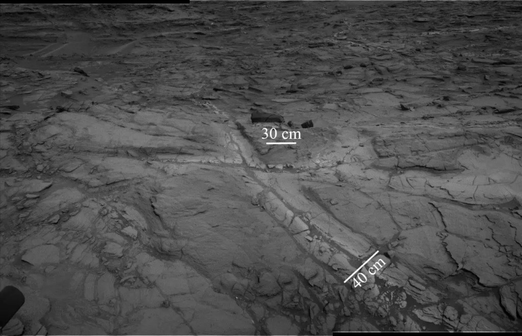 """This images shows """"halos"""" of lighter-toned bedrock around fractures. These halos comprise high concentrations of silica and indicate that liquid groundwater flowed through the rocks in Gale crater longer than previously believed. Credit: NASA/JPL-Caltech."""