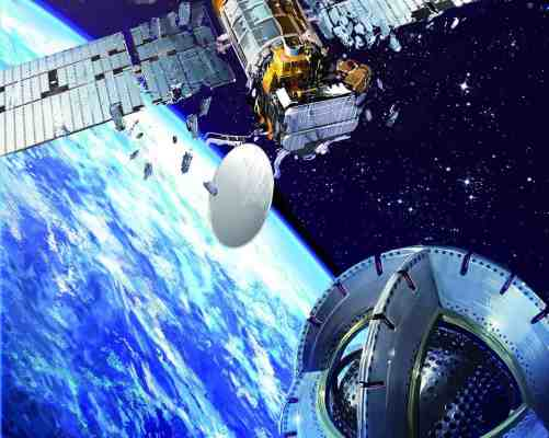 Derelict satellites could in future be grappled and removed from key orbits around Earth with a space tug using magnetic forces. Credit: Philippe Ogaki / ESA.