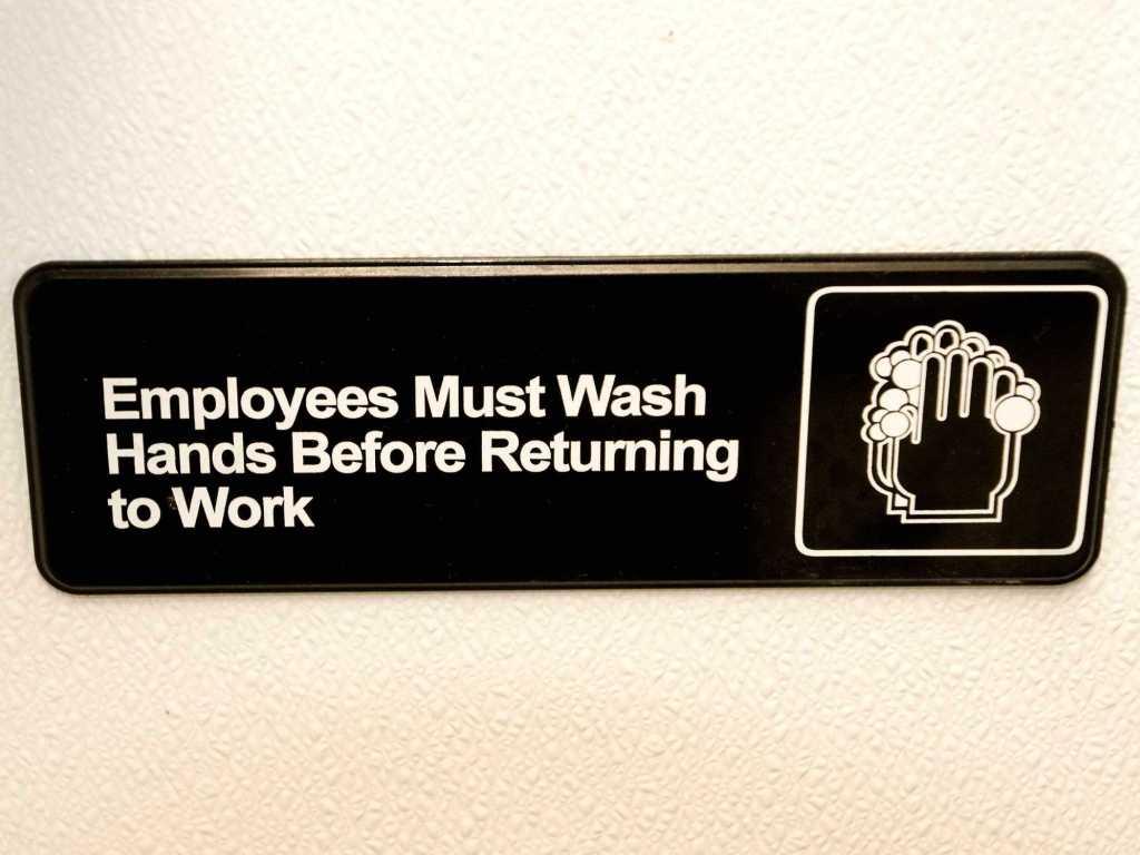 Wash hands sign.