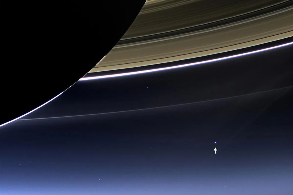 Yup, that's Earth as seen by Cassini from 1.44 billion kilometres away. Is this worth your tax dollar? YES!