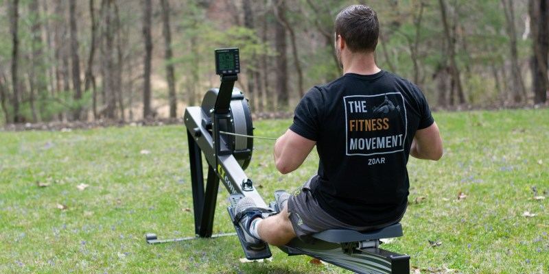 ZOAR Fitness athlete doing Rower workout outside.