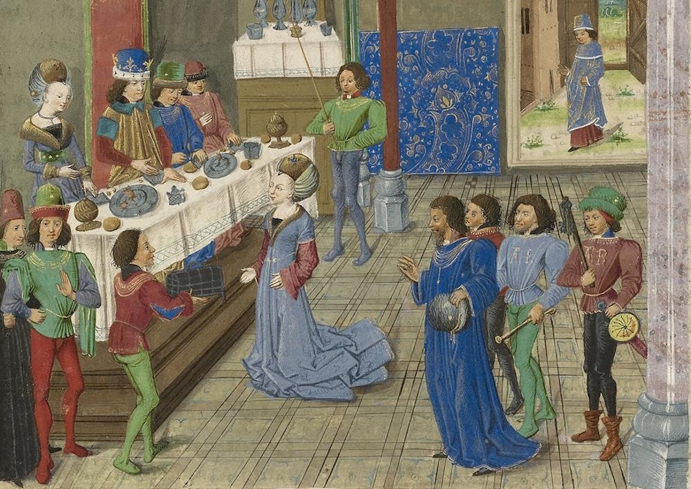 Image result for medieval manuscript nobles feasting