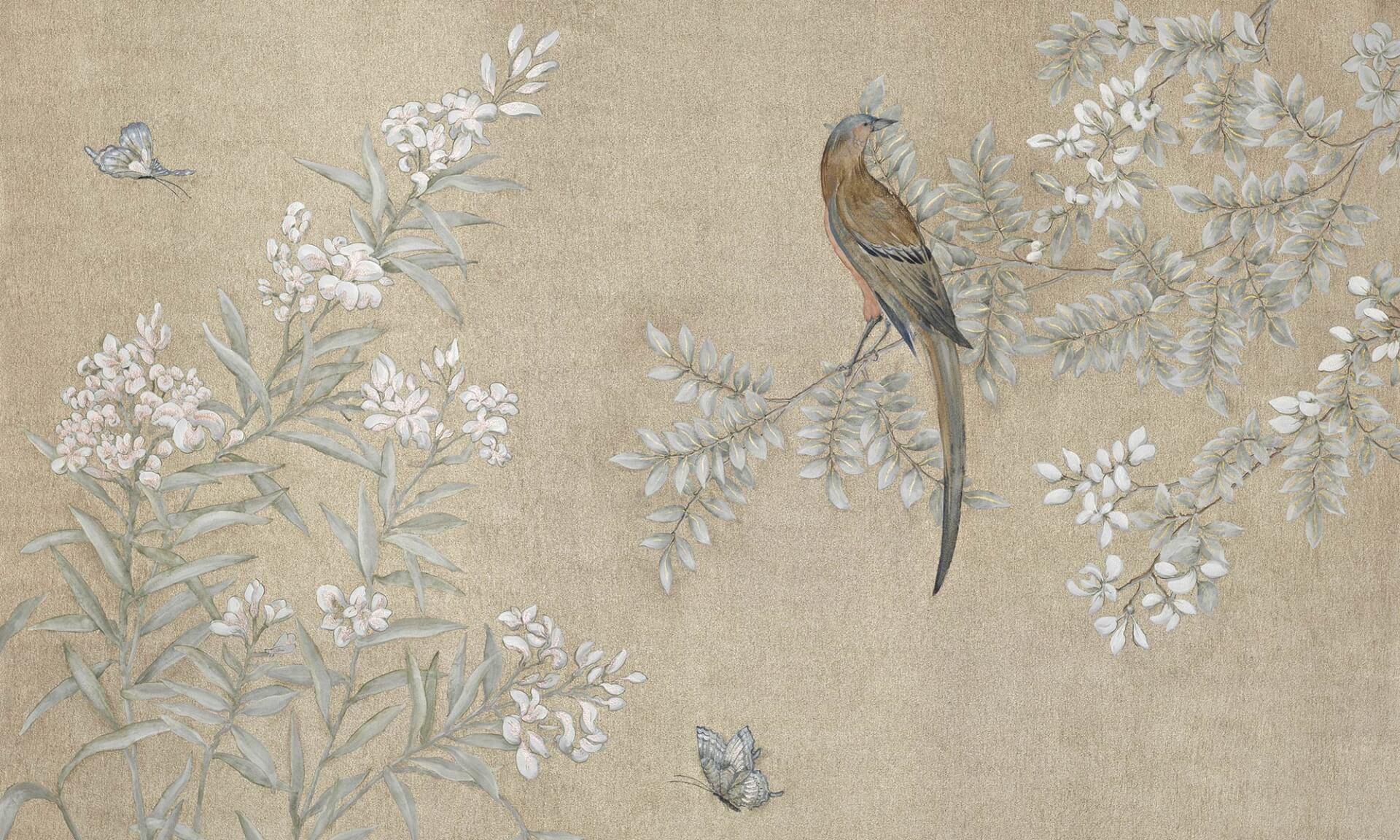 Zo 235 Design Hand Painted Chinoiserie Mural Wallpaper