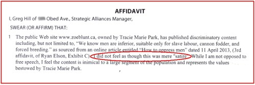 "Affidavit by Greg Hill: ""I did not feel it was satire"""