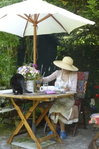 Painting in the garden Aug 2014.