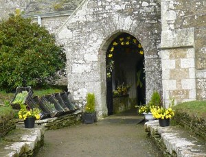 The decorated Porch at Mawgan Church.