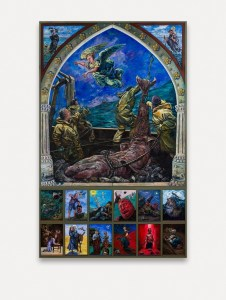 The Cornish legend of St Michael - Large Oil Painting of Arch Angel Michael against a blue sky and turbulent seas as he flies over the Saint Michaels Mount and appears to the fishermen - below are a panel of 12 paintings illustrating life journeys and pilgrimage from the old and new testaments - this painting hangs in All Saints Church Marazion Cornwall