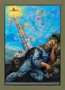 painting of Jacobs dream at Bethel Jacob sleeps and dreams of the scene behind of angels ascending to heaven and descending to earth - detail from an oil painting in All Saints Church Marazion Cornwall