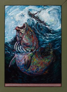 painting of Jonah & the fish - a huge fish open mouthed is about to catch the tiny figure of Jonah as he is thrown from the boat in stormy seas - one of 12 small paintings illustrating life journeys and pilgrimage from stories taken from the old and new testaments