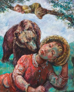 painting depicting - A friend in need is a friend in deed - one of Aesops fables- A girl is lying down in a field in the foreground wearing a sun hat -behind a big brown bear approaches and above them another figure clings to a tree branch hiding