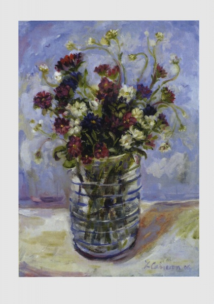 still life Painting of Cornish flowers in a vase with a blue sky with sea and boats beyond which has been made into a card painted by a Cornish artist