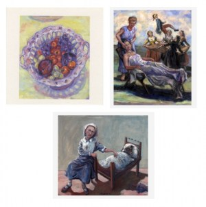 paintings made into cards, Fruit in a bowl, child as a nurse, with a pet dog, oil painting,