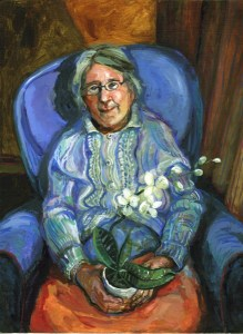 Oil portrait of a lady sitting in a high backed blue chair wearing a cardigan and holding a white flower in a pot on her lap
