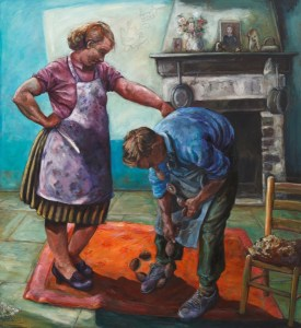 painting depicting The three wishes one of Aesops fables, a farmer cannot get the sausages he wished for off his nose and his wife is ready to cut them off with a sharp knife they stand in front of the kitchen fireplace on a red rug.
