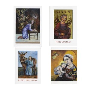 Christmas card images- the annunciation- an angel singing- the madonna and child and a nativity scene.