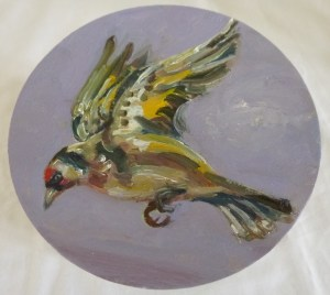 The Yellow Finch Painted Lid The Yellow Finch Painted Lid oil painting of a yellow finch flying painted onto the wooden lid of a container