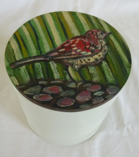 painting of a Thrush hiding in the grass Painted Tin lid