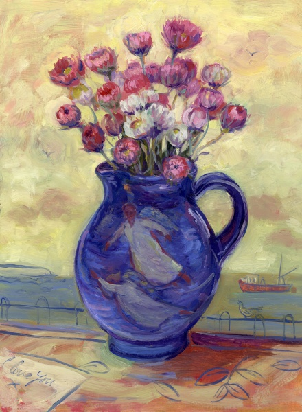 Dark Triad, Oil Painting, Still life, Woman artist, Angels, Sea view,Cornwall, message of love, flowers in a jug, gallery, collectors,