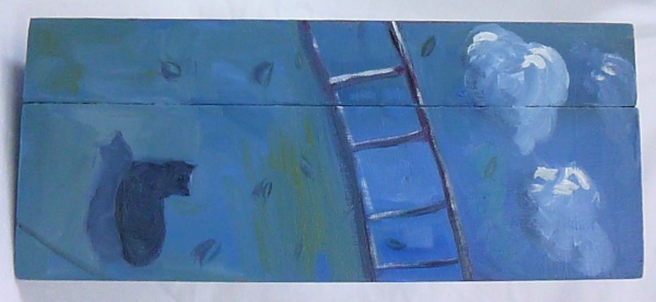 SHOPPING : painting on a wooden box, a cat at night next to a ladder
