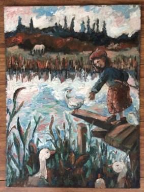 Oil painting, child with ducks, Zoe Cameron, Gallery, art for sale , Modern art, art collectors,Cornish artist, women artists.Children in art.