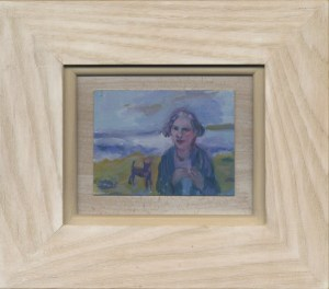 Shopping - An original painting by Cornwall's Zoe Cameron .Painted by an artist that loves Cornwall and nature, bespoke wood frame, by a woman artist, gallery, Cornish artist . The Dream - Figure with a dog on Godrevy beach,Impressionist style painting.