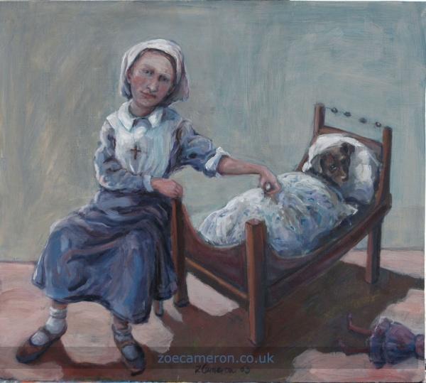 Nurse, oil painting, child and pet dog, Cornish painter, women artist,  collectors