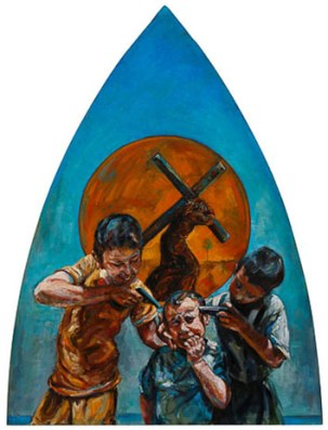 Jesus carries the cross, bullying,children play with guns, oil painting, woman artist ,Gallery , religious art,Truro Cathedral, All Saints Chapel, Cornwall.Stations of The Cross. Easter. Christian Calendar