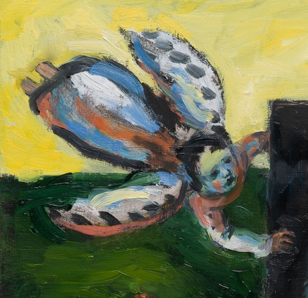 SHOPPING : Painting of an Angel flying in a yellow sky over a green landscape with spotted wings