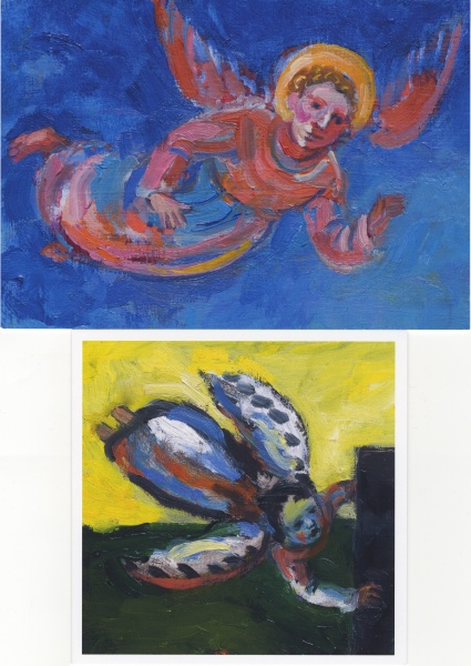 Angel cards pack of 5 colourful Paintings of Angels with wings flying the sky