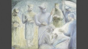 Barbara Hepworth mixed media image of surgeons in an operating theatre wearing gowns.