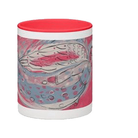 Angel mug featuring an angel in a spotted dress
