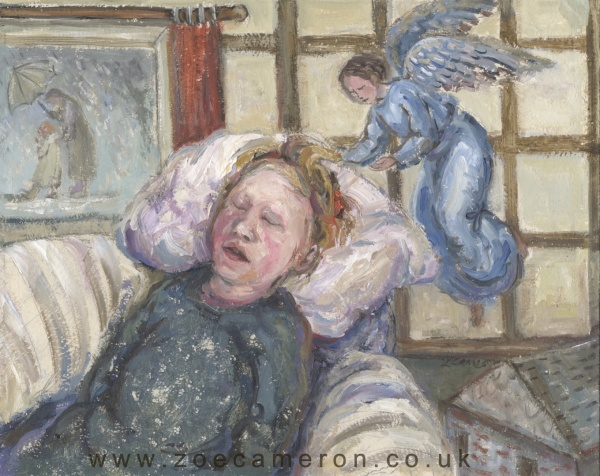 Painting of a child sick in bed, sleeping with an angel flying above keeping watch.
