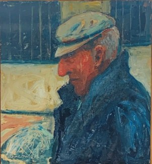 Painting of the harbourmaster Porthleven. Man side profile in a cap with nets beyond.