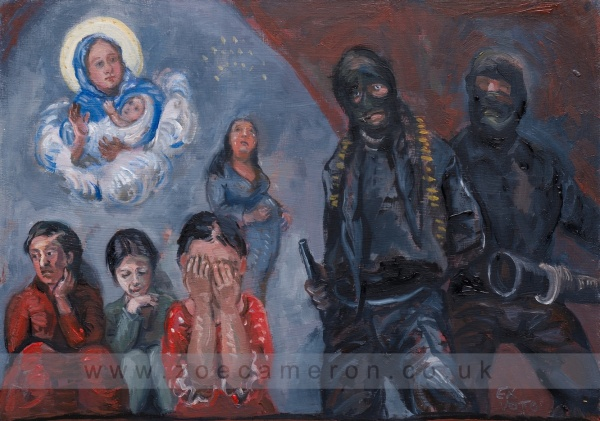 Painting. A pregnant woman escapes an Isis camp near Mosul . Two men with weapons hold women and girls captive for conversion ,as slaves and for sex .