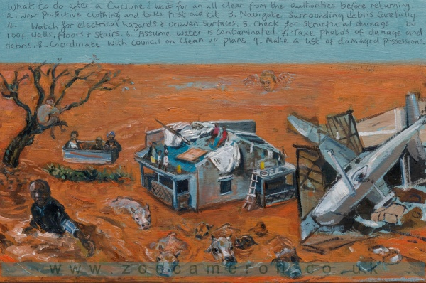 Ex Votive/Painting about Africa showing a broken Aircraft, houses, people using a freezer as a boat, and a man asking for help with cattle swimming in the flood. Cyclone Idai reminds us of the impact of Climate change . 120 mile an hour winds, then floods caused death and devastation to people and animals.