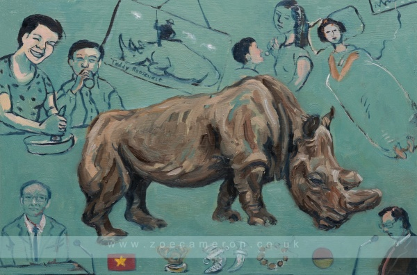 Painting showing The last wild born male Northern White Rhino that died in Kenya 2018. It also shows people using its horn in different ways. Humans are driving a new era of mass extinction around the world. Oil on board. 100 painted vows, Ex votive.